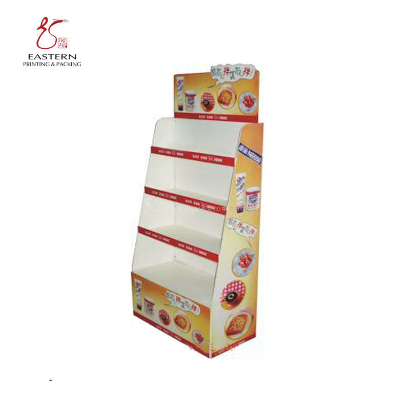 CMYK Printing Foldable Corrugated Display Stand For Supermarket Retail
