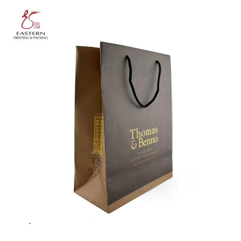 Brown Kraft 250mm Length CMYK Printed Paper Gift Bags With Handles