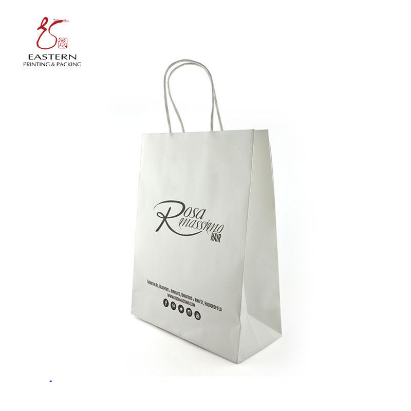 CMYK Printing Recyclable White Paper Gift Bags With Handles 210gsm