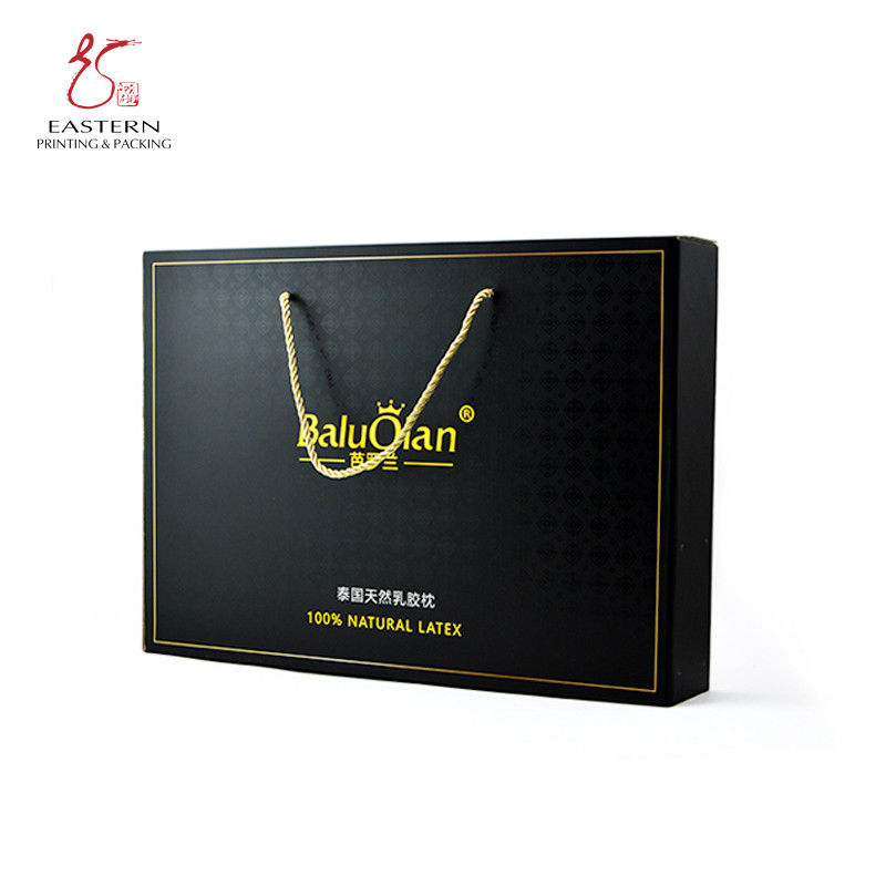 Black Pillow Packaging SGS Corrugated Cardboard Box With Handle Rope